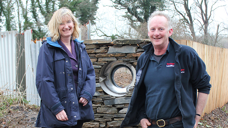 Dr Sarah Wollaston, MP, visits LandWorks Project Manager, Chris Parsons