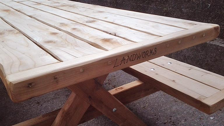 LandWorks redwood bench