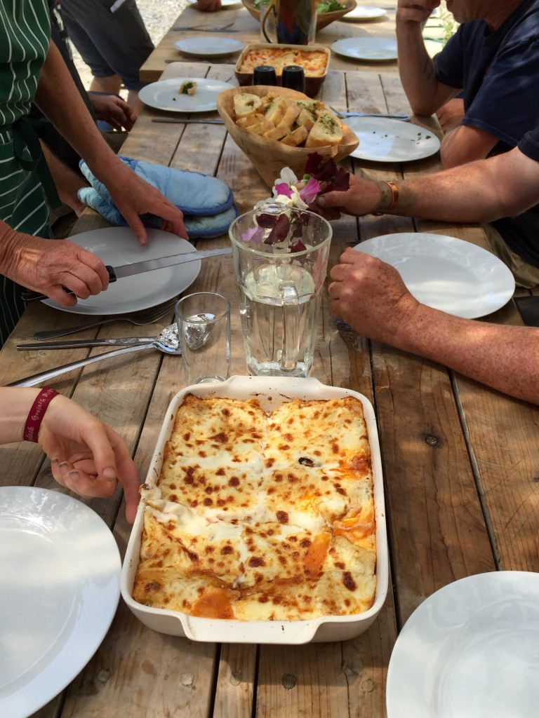 Lasagne cooked by Sarah and Neil, led by super volunteer Sue