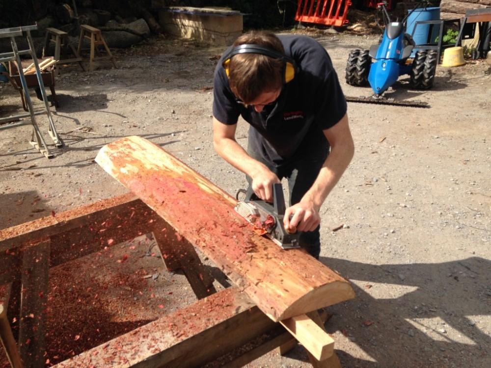 Trainee Joe woodworking at LandWorks