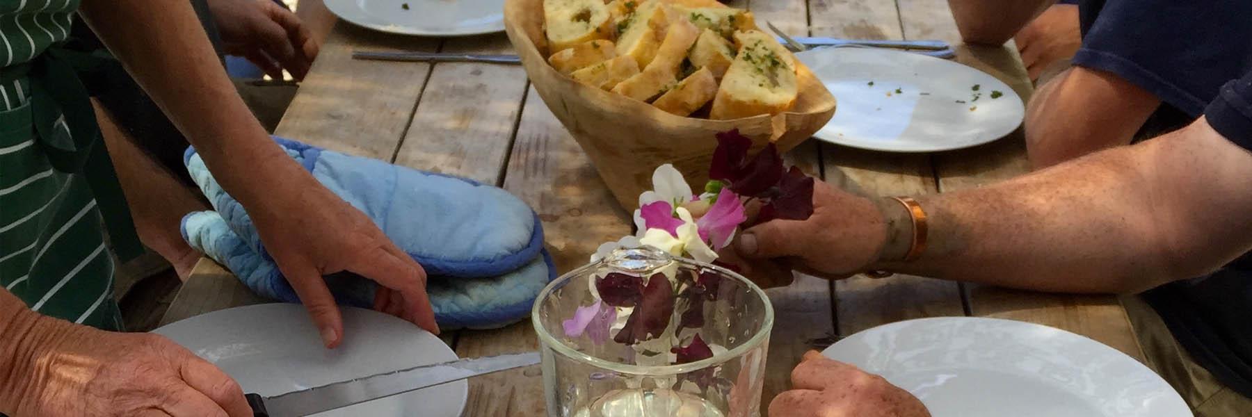 landworks lunch with garlic bread
