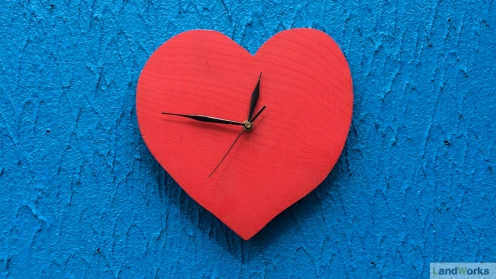 Heart-shaped clock handmade at LandWorks