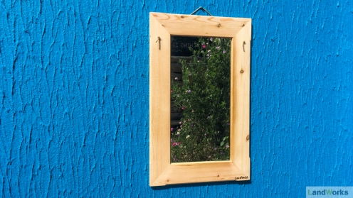 Wooden framed mirror handmade at LandWorks