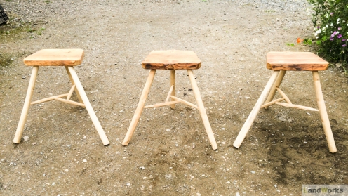 Green wood bar stools handmade at LandWorks