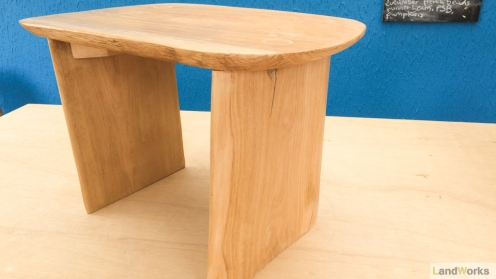 Ash wood side table handmade at LandWorks